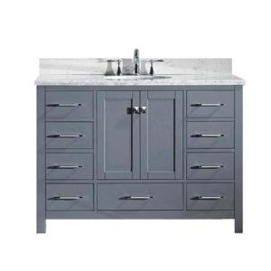 Virtu USA Caroline Avenue 48 inch W x 22 inch D Single Vanity in Gray with Marble Vanity Top in White with White Basin by Virtu USA