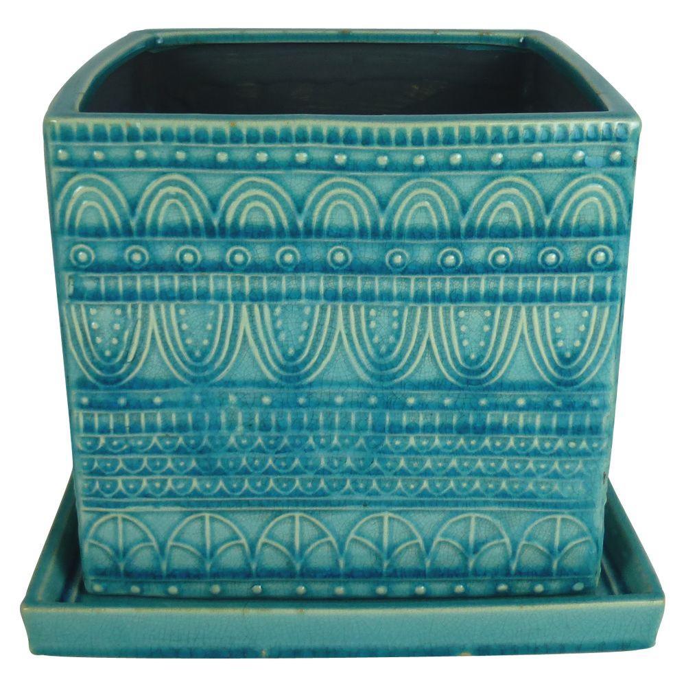 8 in. Dia. Blue Ceramic Seven Seas Square Pot