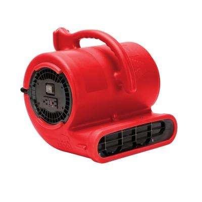 1/3 HP Air Mover for Water Damage Restoration Carpet Dryer Janitorial Floor Blower Fan, Red