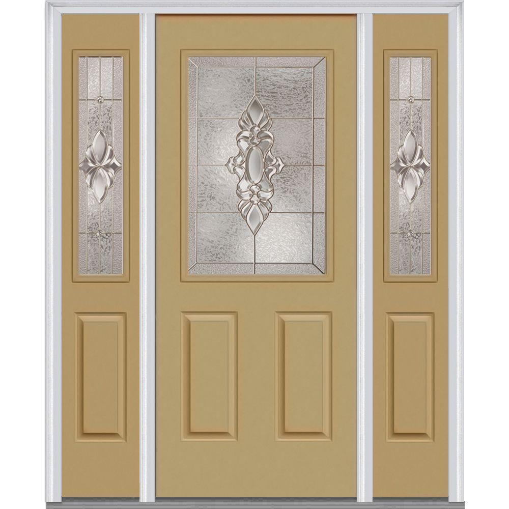 60 in. x 80 in. Heirloom Master Left-Hand 1/2 Lite 2-Panel Classic Painted Fiberglass Smooth Prehung Front Door