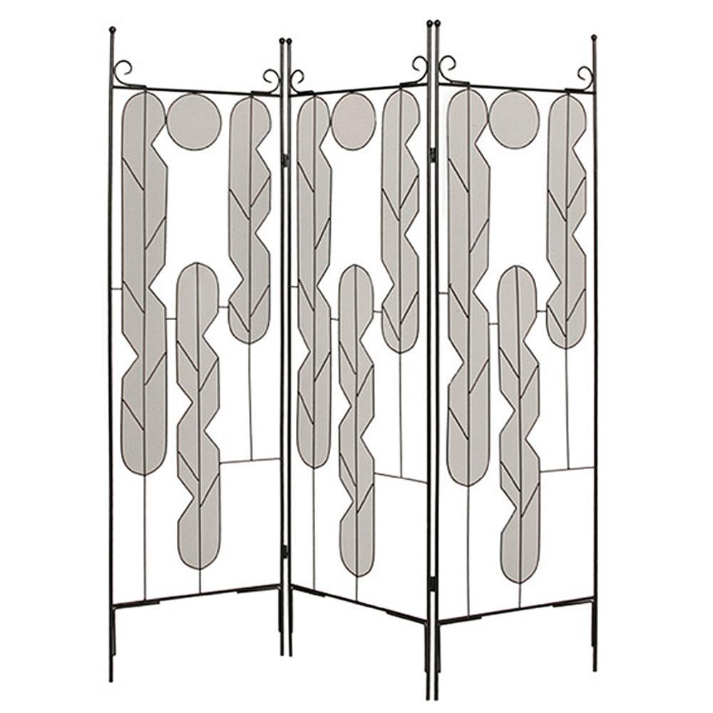 Iron Art 6 ft. Black 3-Panel Room Divider