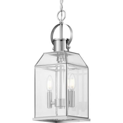 Canton Heights 2-Light Stainless Steel Outdoor Pendant Light with Clear Beveled Glass