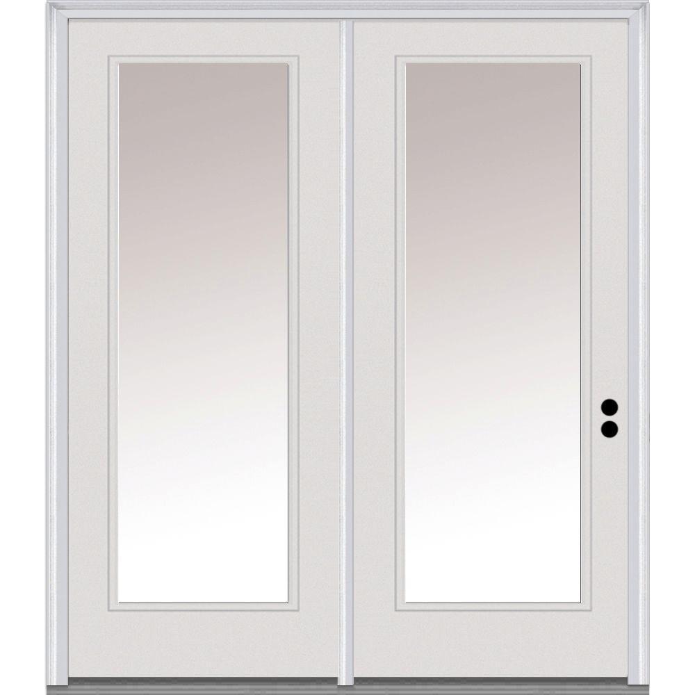 MMI Door 60 in. x 80 in. Clear Glass Primed Fiberglass Prehung Left Hand Inswing Full Lite Stationary Patio Door