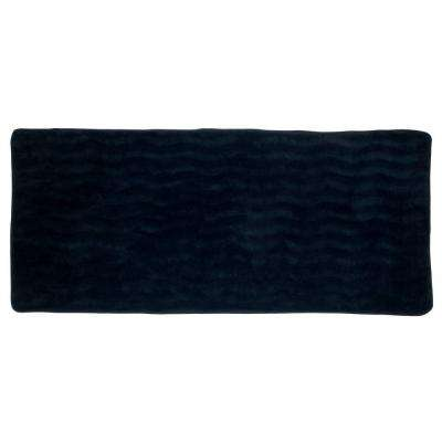 Black 24.25 in. x 60 in. Memory Foam Extra Long Bath Mat