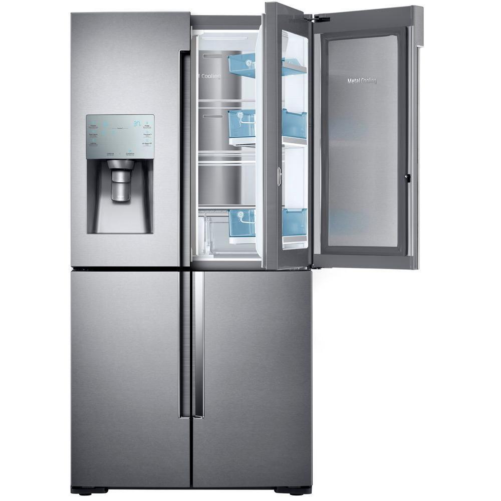 Samsung 22.1 cu. ft. 4-Door Flex Food Showcase French Door Refrigerator in Stainless Steel, Counter Depth by Samsung