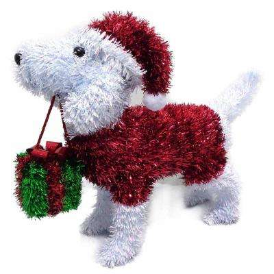 11.75 in. Christmas 3D Tabletop White Dog with Santa Hat, Sweater and Gift