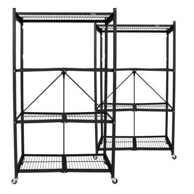 21 in. x 36 in. x 60 in. Black Steel Wheeled 4-Shelf Folding Wire Shelving (2-Pack)
