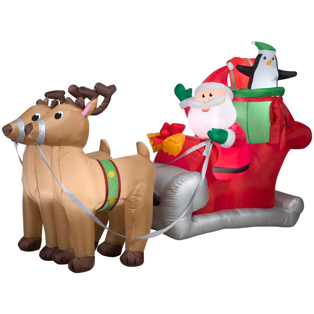 Gemmy 5 ft. H x 8 ft. W Inflatable Santa with Sleigh and Reindeer Scene