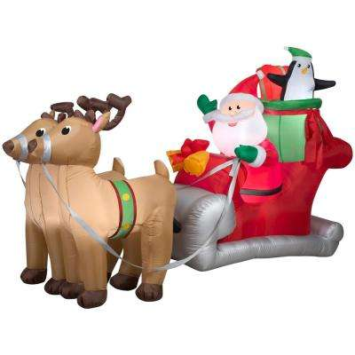 5 ft. H x 8 ft. W Inflatable Santa with Sleigh and Reindeer Scene