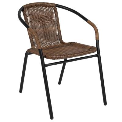 Metal Outdoor Dining Chair in Medium Brown