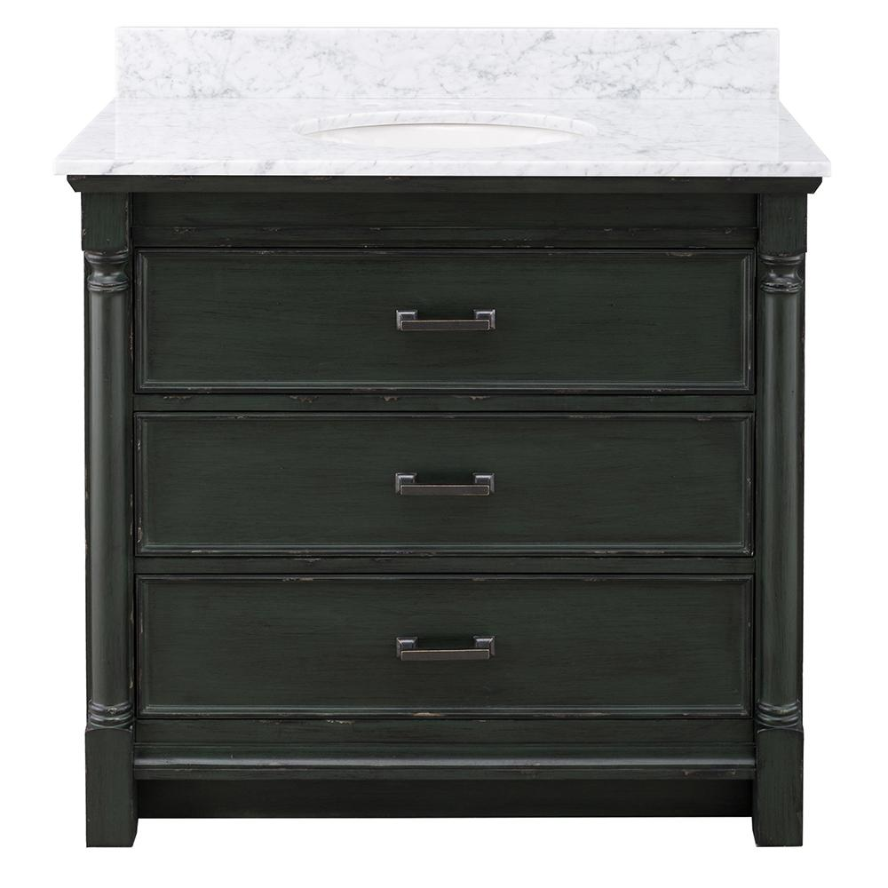 Home Decorators Collection Greenbrook 37 in. W x 22 in. D Vanity in Vintage Forest Green with Marble Vanity Top in Carrara Marble with White Sink