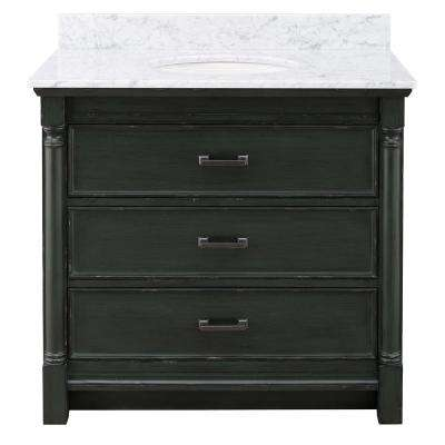 Greenbrook 37 in. W x 22 in. D Vanity in Vintage Forest Green with Marble Vanity Top in Carrara Marble with White Sink