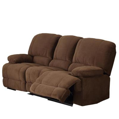 Kevin 82 in. Brown Fabric 3-Seater Bridgewater Reclining Sofa with Square Arms