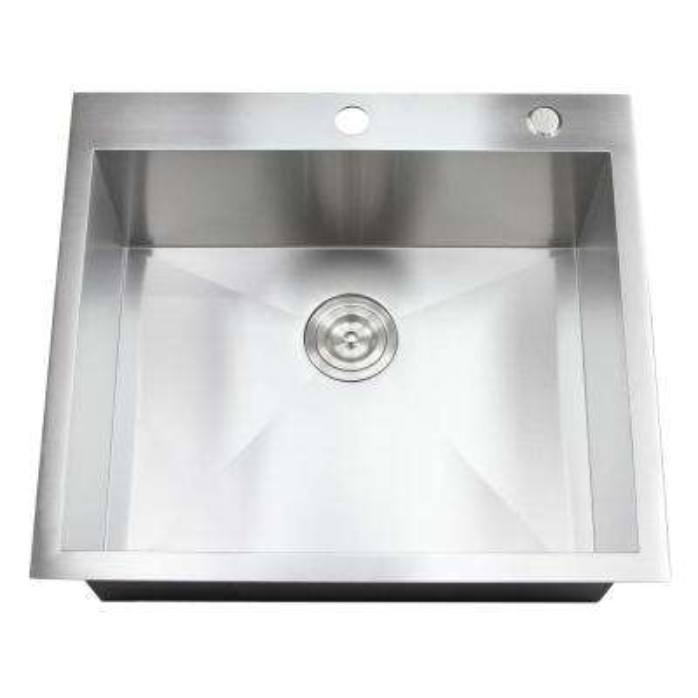 Topmount / Drop-in 25 in. x 22 in. x 10 in. Stainless Steel Prep / Bar / Island Single Bowl Zero Radius Kitchen Sink