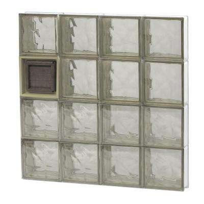 31 in. x 31 in. x 3.125 in. Frameless Wave Pattern Bronze Glass Block Window with Dryer Vent