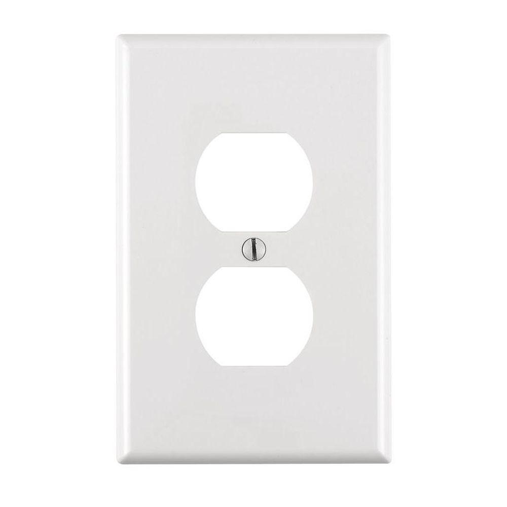 White Electrical Outlet Covers Entrancing Leviton 1Gang Midway Duplex Outlet Nylon Wall Plate Ivoryr51 Design Ideas