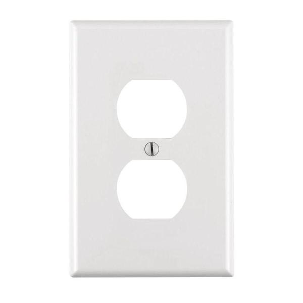 1-Gang Midway Duplex Outlet Nylon Wall Plate, White