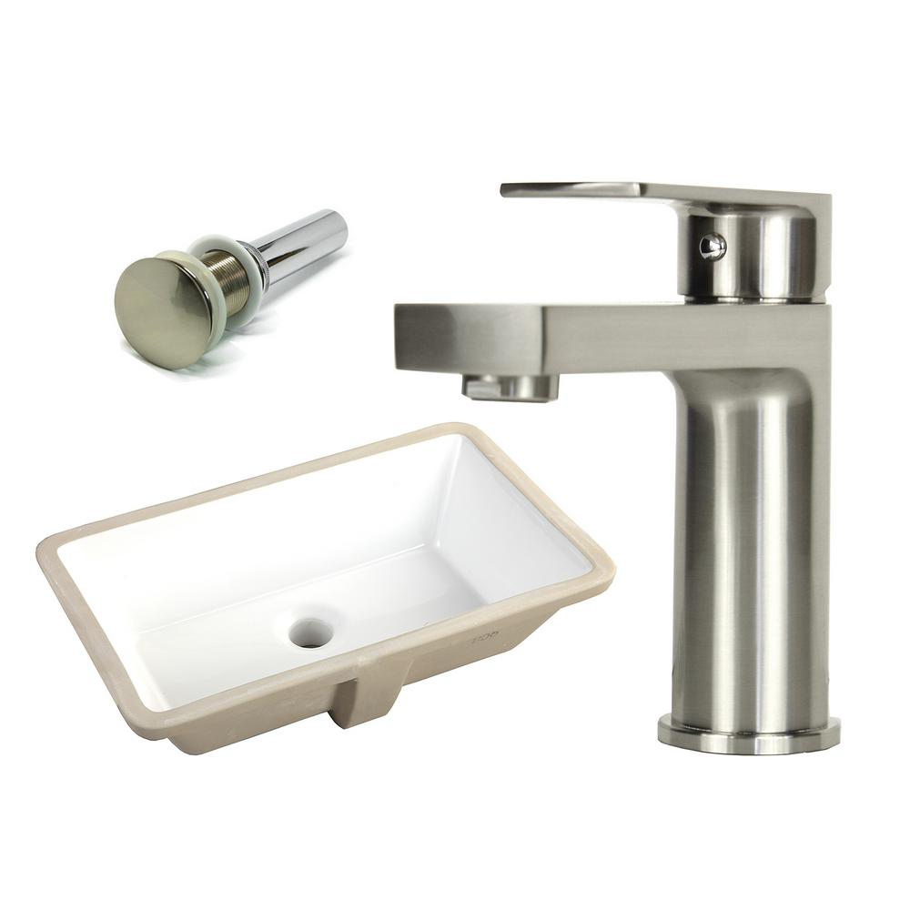 Rectangle Undermount Vitreous Glazed Ceramic Sink With Brushed Nickel Bathroom Faucet Pop Up Drain Combo