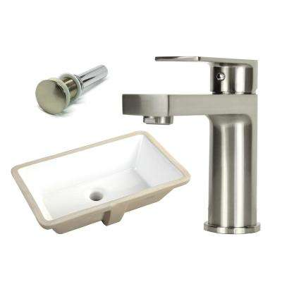 20-7/8 in. Rectangle Undermount Vitreous Glazed Ceramic Sink with Brushed Nickel Bathroom Faucet /Pop-up Drain Combo