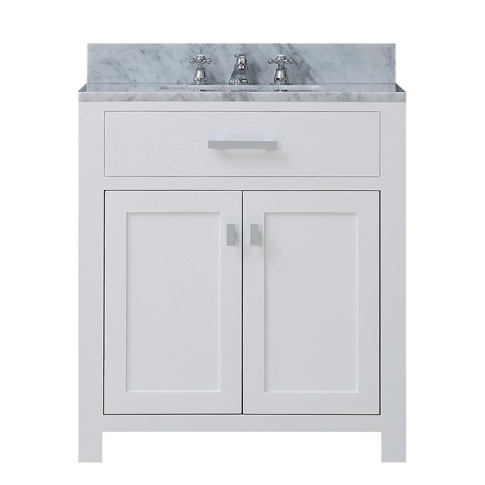 Water Creation Madison 30 in. Vanity in Modern White with Marble Vanity Top in Carrara White