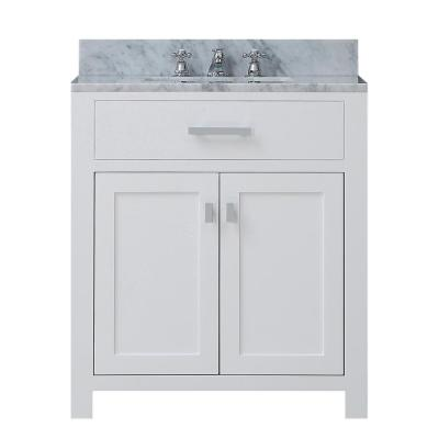 Madison 30 in. Vanity in Modern White with Marble Vanity Top in Carrara White