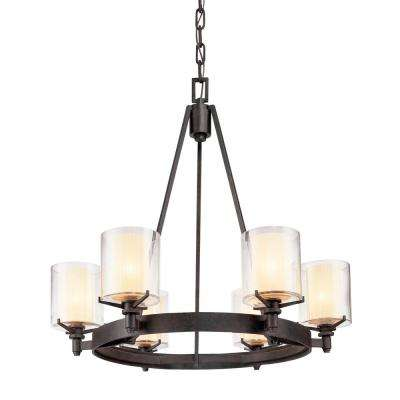 Arcadia 6-Light French Iron Chandelier with Clear Glass Shade