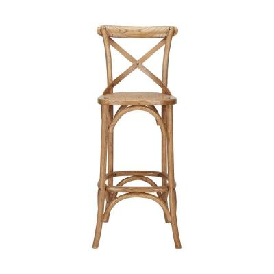Mavery Patina Oak Finish Wood Bar Stool with Woven Seat and Cross Back (18 in. W x 43.31 in. H)