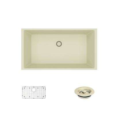 Undermount Composite Granite 32-5/8 in. Single Bowl Kitchen Sink in Ecru