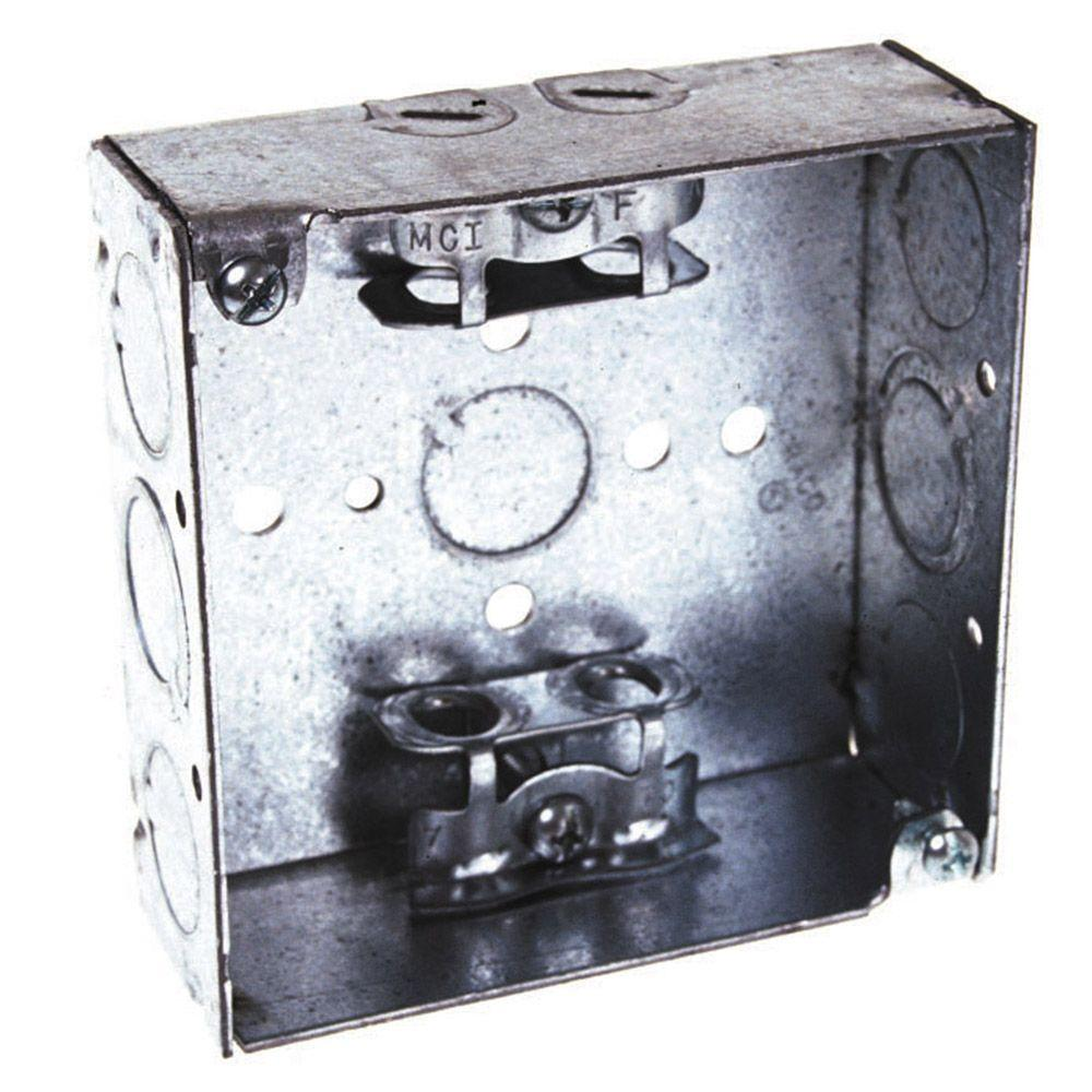 4 in. Square 1-1/2 in. Deep Welded Wall Box with BX-Clamp