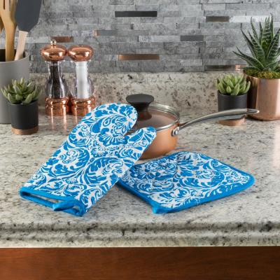 Quilted Cotton Blue Heat/Flame Resistant Oven Mitt and Pot Holder Set (2-Pack)