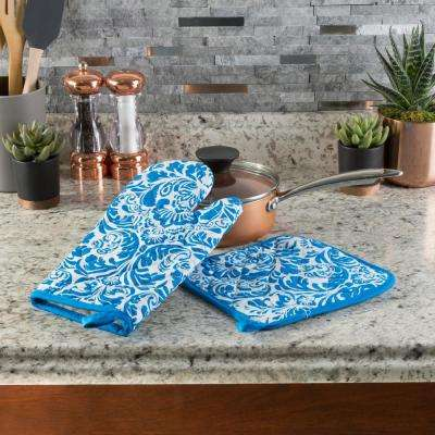 Quilted Cotton Blue Heat Flame Resistant Oven Mitt And Pot Holder Set 2