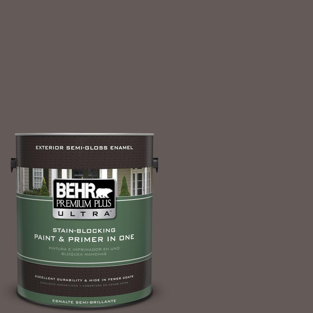 BEHR Premium Plus Ultra 1-gal. #BXC-71 Wood Acres Semi-Gloss Enamel Exterior Paint