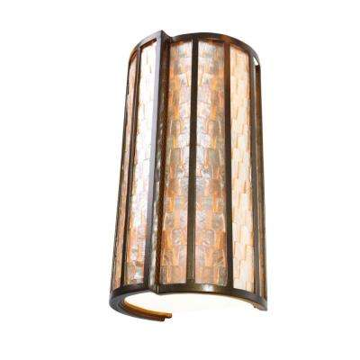 Affinity 2-Light New Bronze Sconce with Towers of Natural Capiz