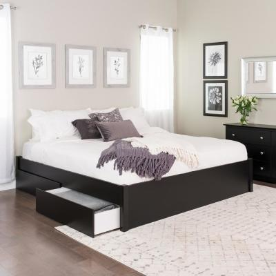 Select Black King 4-Post Platform Bed with 2-Drawers