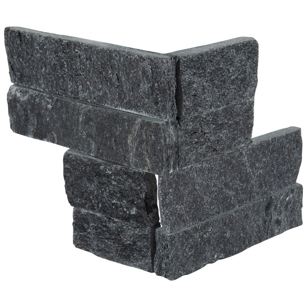 MSI Coal Canyon Mini Ledger Panel Corner 4.5 in. x 9 in. Natural Split Face Quartzite Wall Tile (4 sq. ft. / case)
