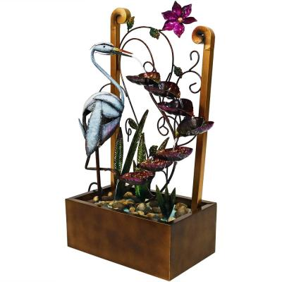 33 in. Metal Crane Tiered Waterfall Outdoor Water Fountain