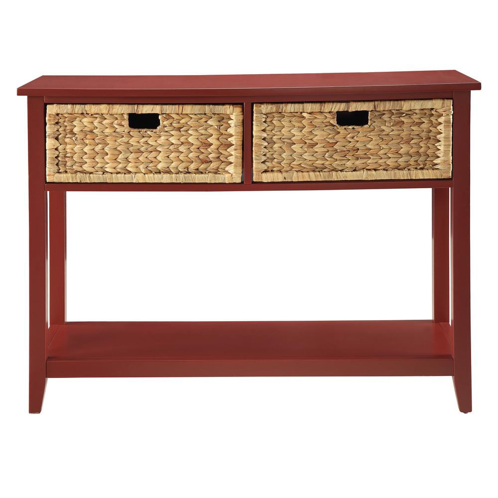 Acme Furniture Flavius Console Table In Burgundy