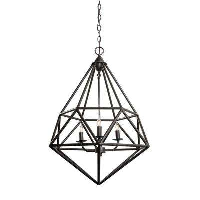 Facet 3-Light Forged Iron Pendant