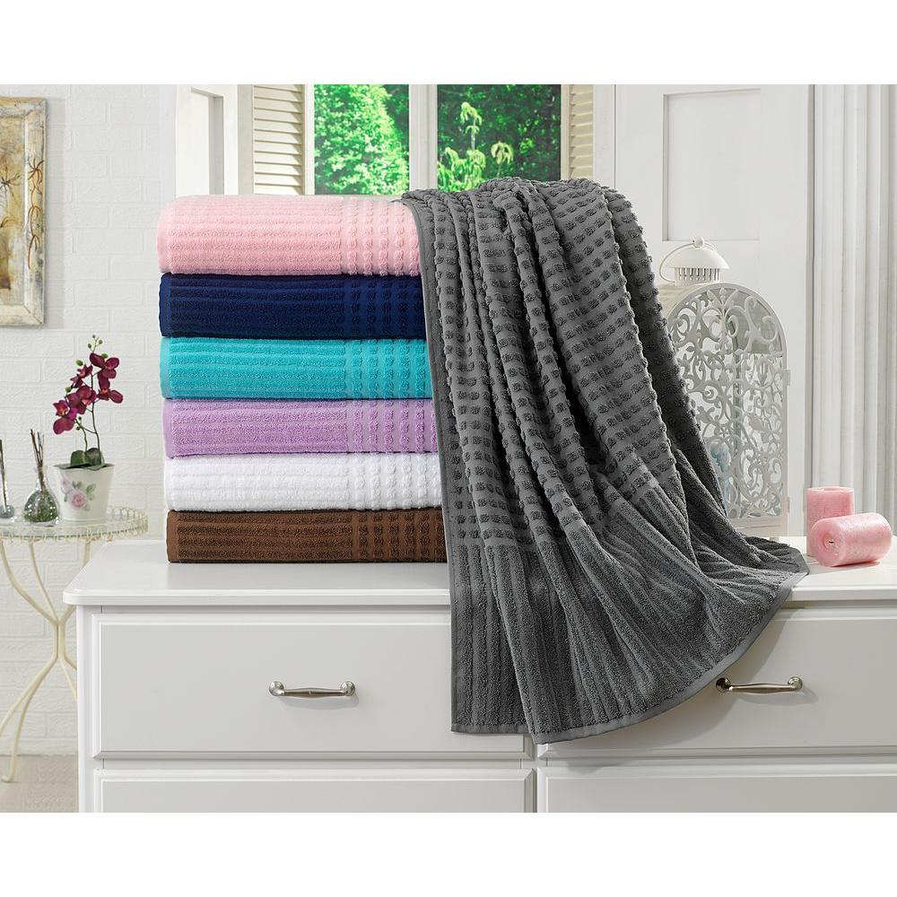 Berrnour Home Piano Collection 27 in. W x 55 in. H %100 Turkish Cotton Luxury Bath Towel in Gray