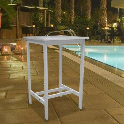 Bradley White Acacia Patio Bar Table