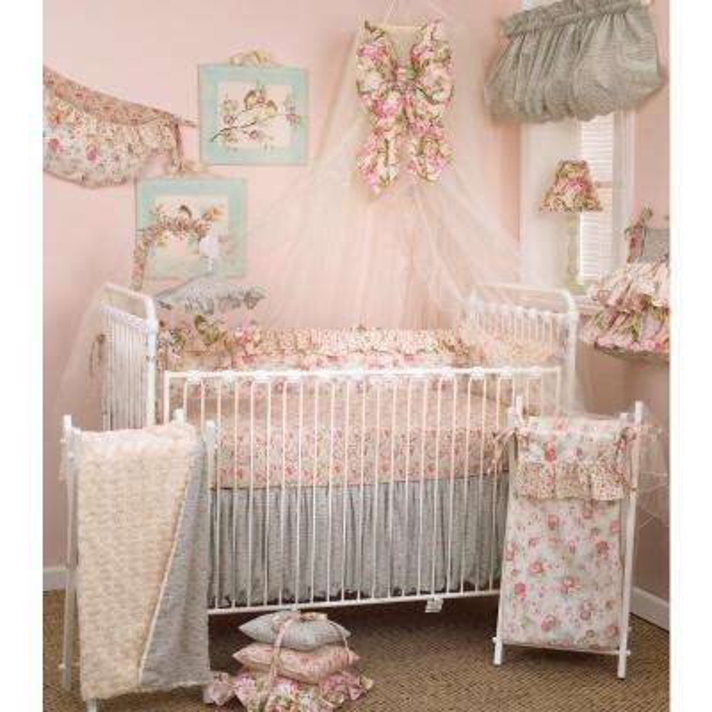 Tea Party Floral 4-Piece Crib Bedding Set