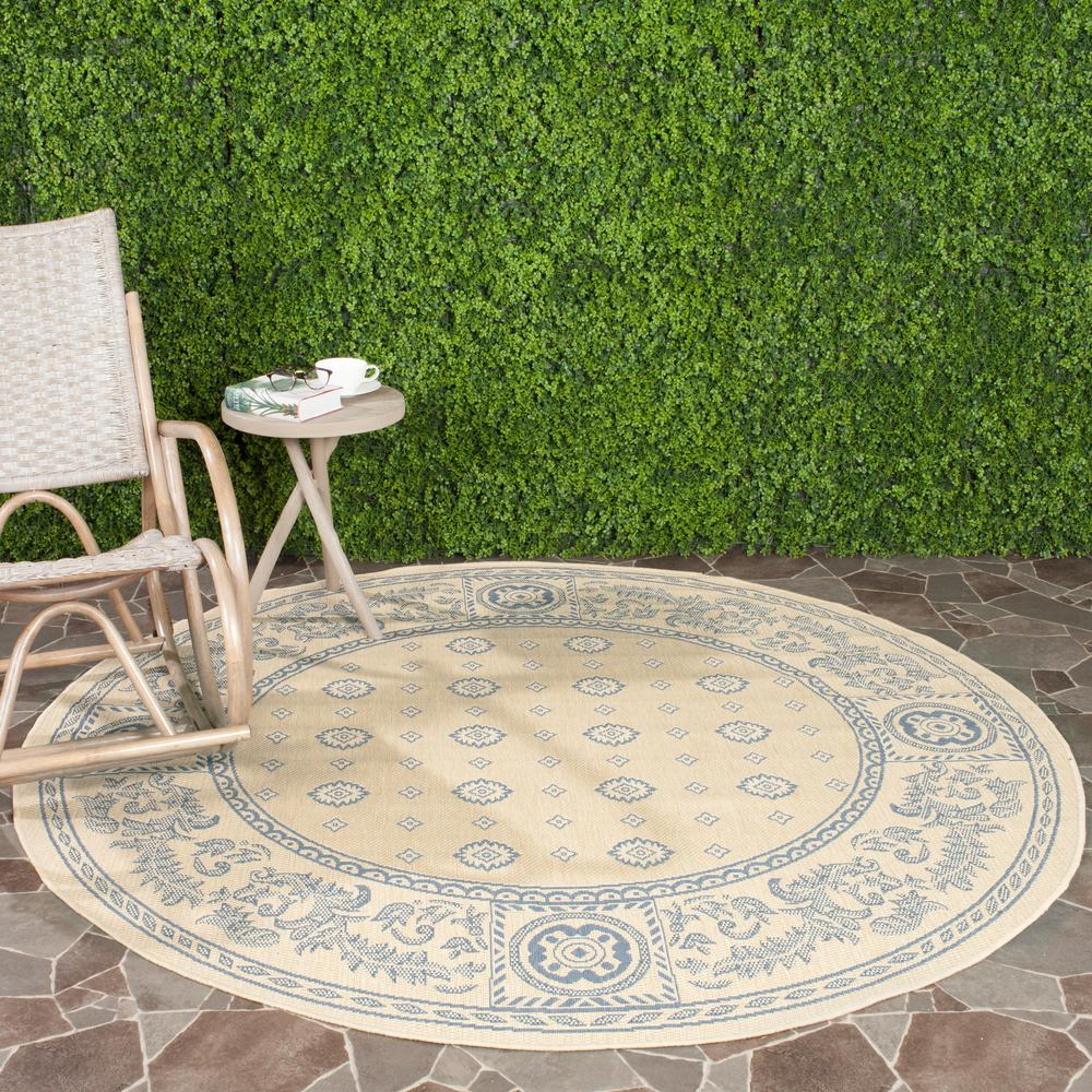 Courtyard Natural/Blue 5 ft. 3 in. x 5 ft. 3 in.