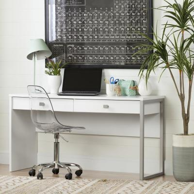 Interface Pure White Desk with 2 Drawers