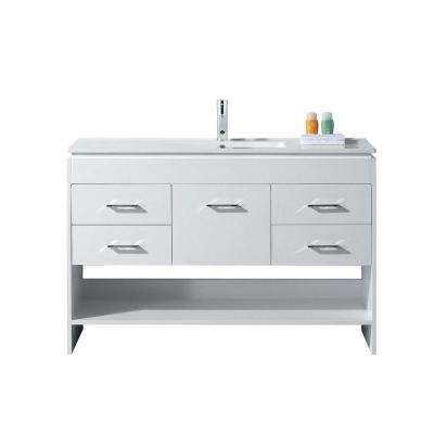 Gloria 48 in. W Bath Vanity in White with Ceramic Vanity Top in Slim White Ceramic with Square Basin and Faucet