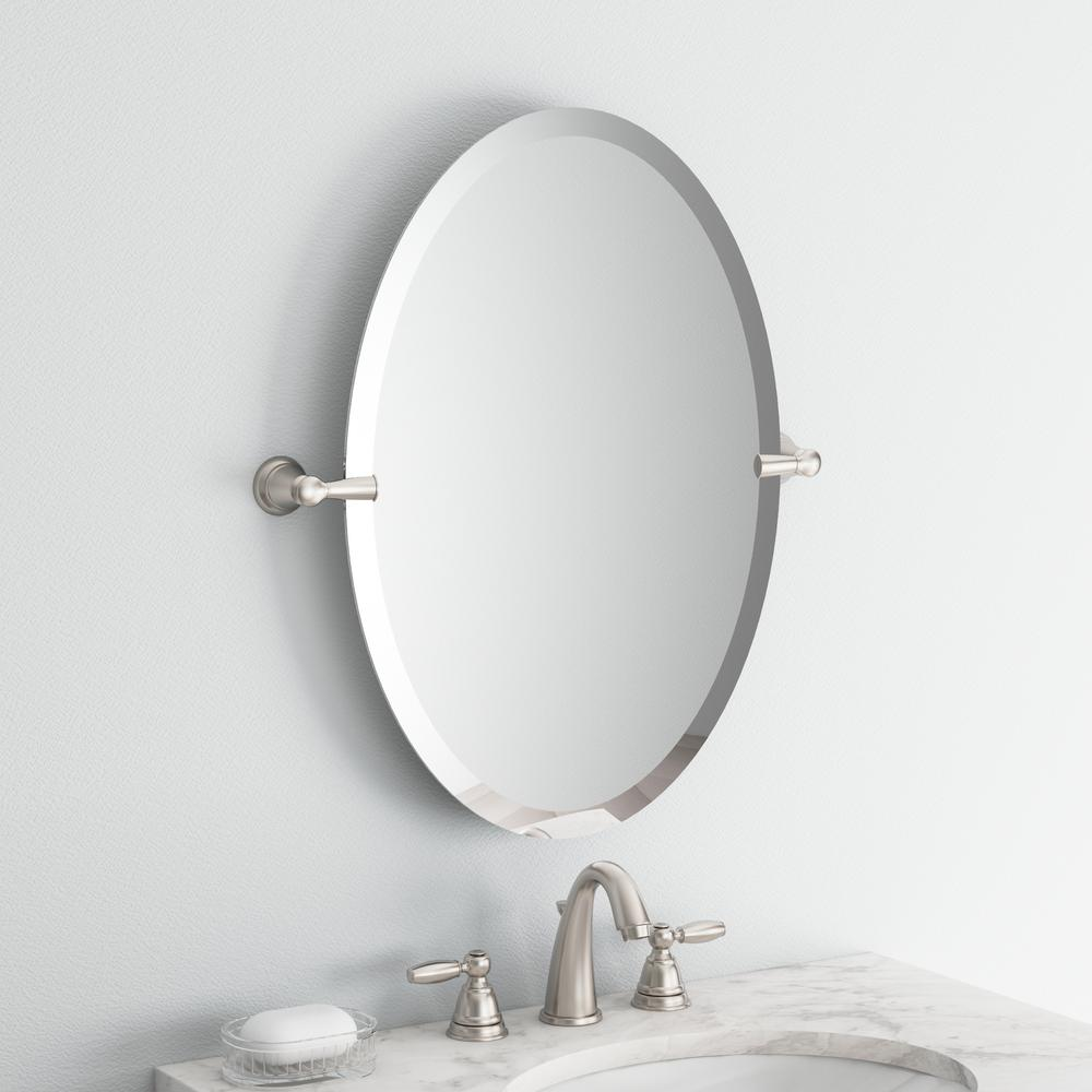 MOEN Banbury 26 in Frameless Pivoting Wall Mirror in Brushed Nickel x 23 in