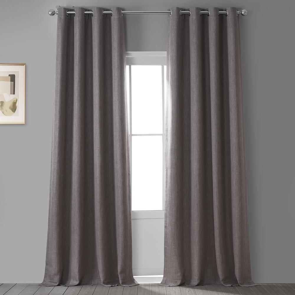 Mink Gray Faux Linen Grommet Blackout Curtain - 50 in. W x 84 in. L