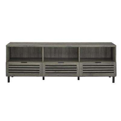 70 in. Slate Grey Jackson Slat Door Media Storage Console TV Stand Entertainment Center