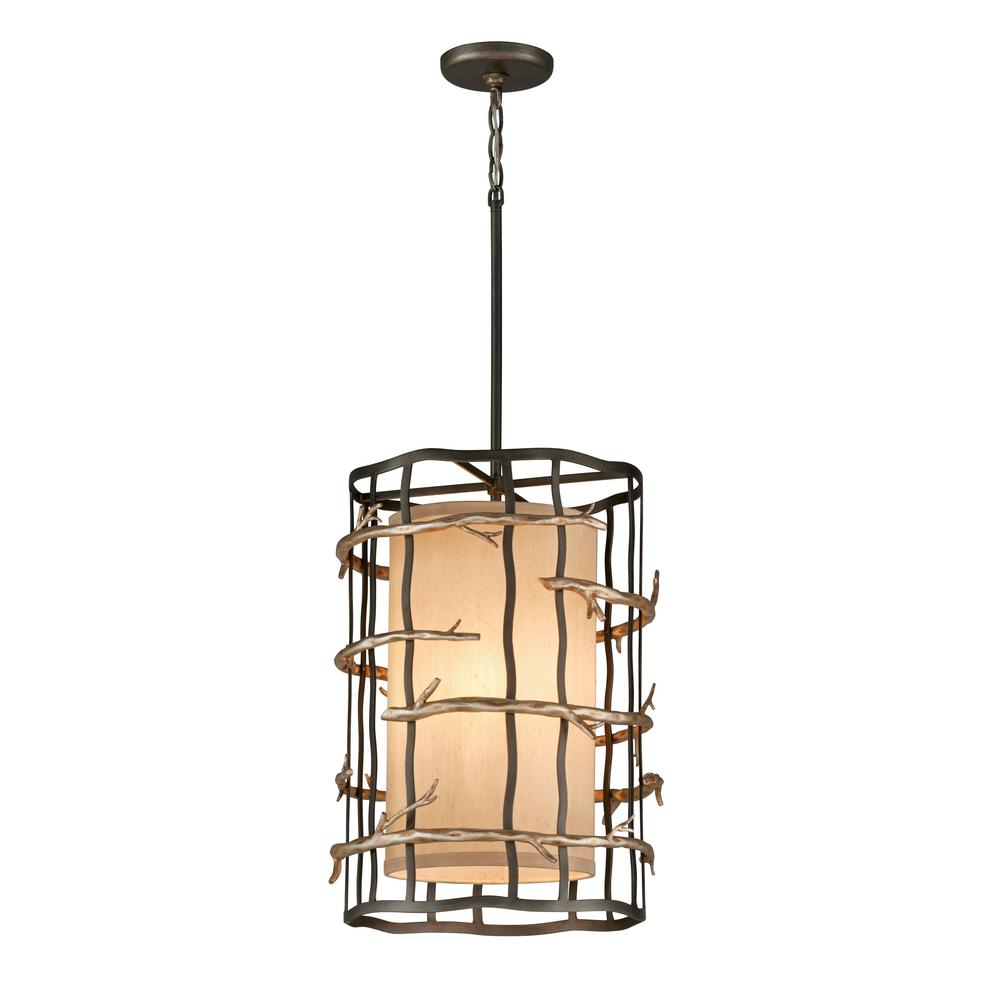 Troy Lighting Adirondack 3 Light Graphite And Silver Leaf Pendant
