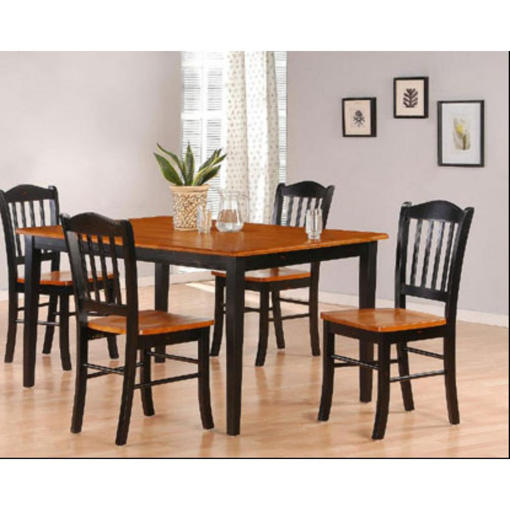 Boraam 5-Piece Black and Oak Dining Set-80536 - The Home Depot