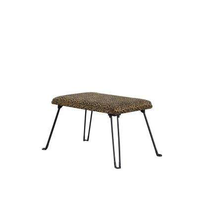 17 in. Leopard Backless Accent Seat with Foldable Legs